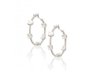 Серебряные серьги-кольца с фианитом (18/Ск27)