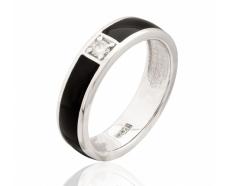 Золотое кольцо с бриллиантом и эмалью (1103194202)