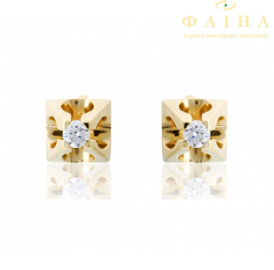 Золотые серьги-пуссеты с фианитом (2222002) - 2
