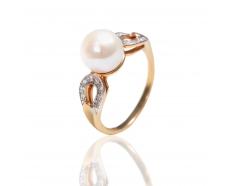 Золотое кольцо с жемчугом (К672)