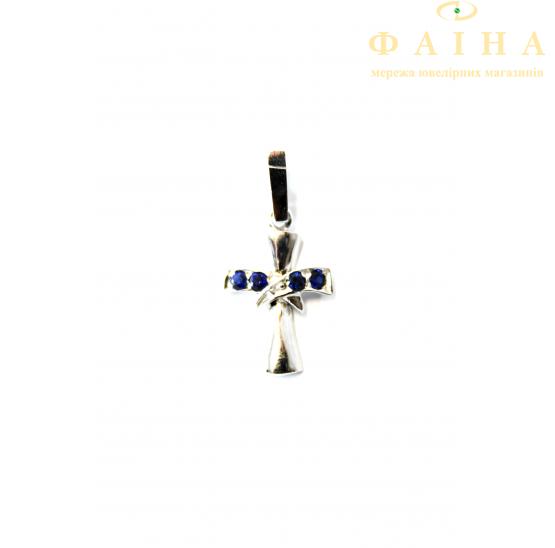 Золотой крест с сапфиром (830сб) - 1