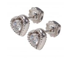 Золотые серьги-пуссеты с бриллиантом (22899б)