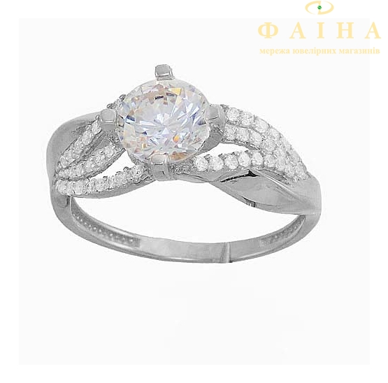 Серебряное кольцо с фианитом (2257,1) - 1