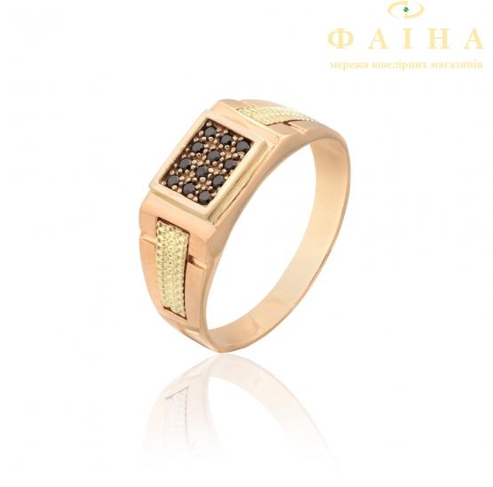 Золотое кольцо-печать с фианитом (ДП10) - 1
