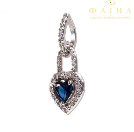 Золотой кулон с бриллиантом и сапфиром (730071сб) - 1