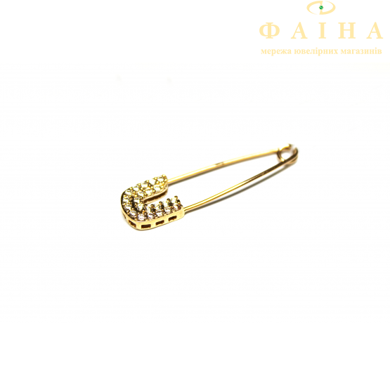 Золотая булавка с фианитом (06) - 1