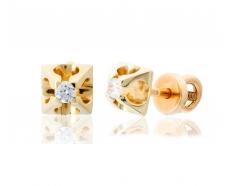 Золотые серьги-пуссеты с фианитом (2222002)