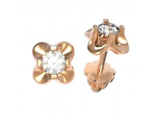 Золотые серьги-пуссеты с бриллиантом (22669)
