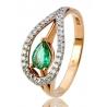 Золотое кольцо с бриллиантом и изумрудом (36098470) - 1