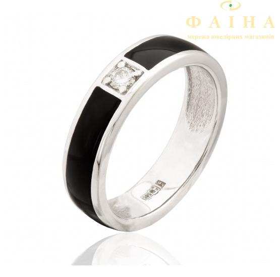Золотое кольцо с бриллиантом и эмалью (1103194202) - 1