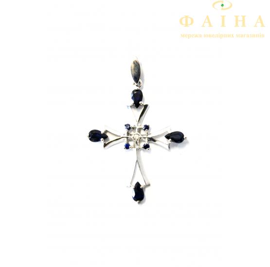 Золотой крест с бриллиантом и сапфиром (3813) - 1