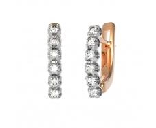 Золотые серьги с бриллиантом (22875)