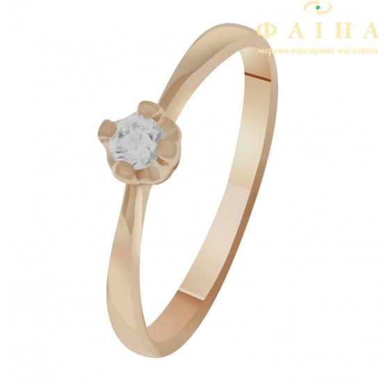 Золотое кольцо с фианитом (1101477101) - 1
