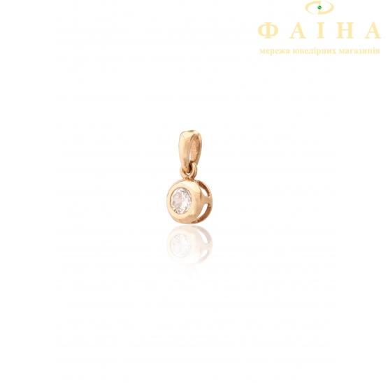 Золотой кулон с фианитом (104/01) - 1