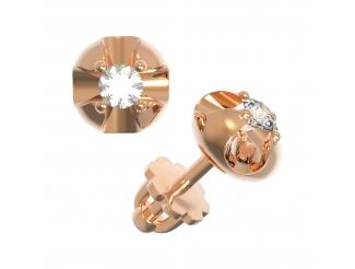 Золотые серьги-пуссеты с бриллиантом (22581)