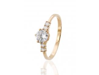 Золотое кольцо с фианитом (1236005)