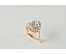Золотое кольцо с топазом и фианитом (1190499101)