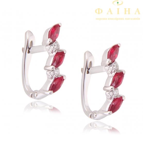 Золотые серьги с бриллиантом и рубином (гусеница рб) - 1