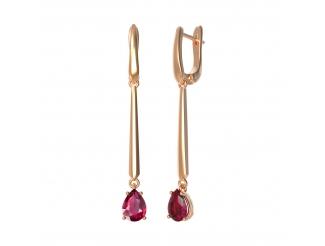 Золотые серьги с рубином (22991р)