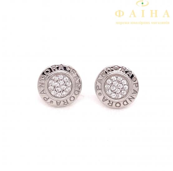 Серебряные серьги-пуссеты с фианитом (2624519) - 1