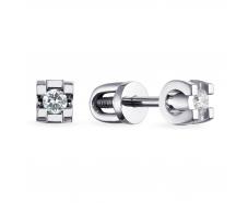 Золотые серьги-пуссеты с бриллиантом (2229)