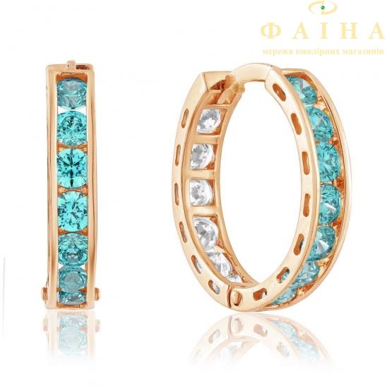 Золотые серьги-кольца с фианитом (4174SwMin) - 1