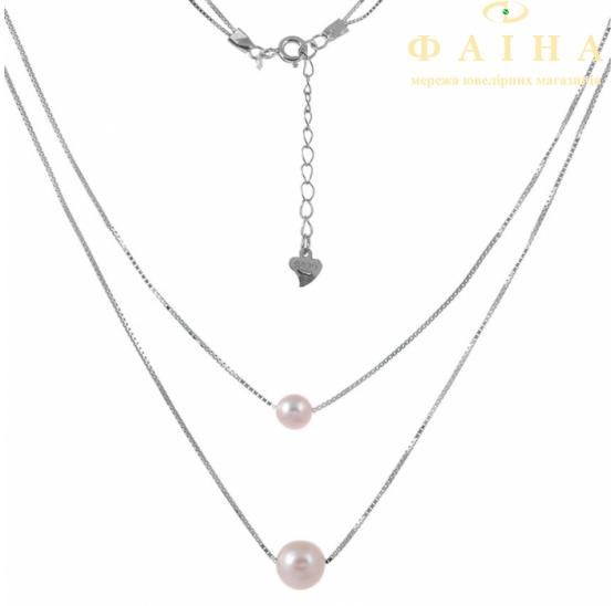 Серебряная цепь-колье с жемчугом (Кл2Ж/802) - 1