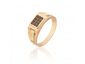 Золотое кольцо-печать с фианитом (ДП10)
