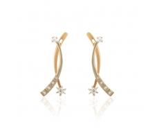 Золотые серьги с фианитом (2147012)