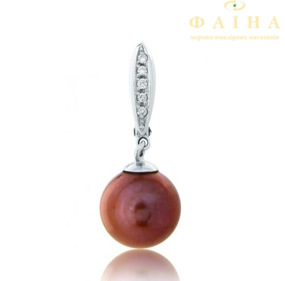 Золотые серьги с бриллиантом и жемчугом (4131) - 1
