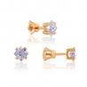 Золотые серьги-пуссеты с фианитом (0567Gл) - 1