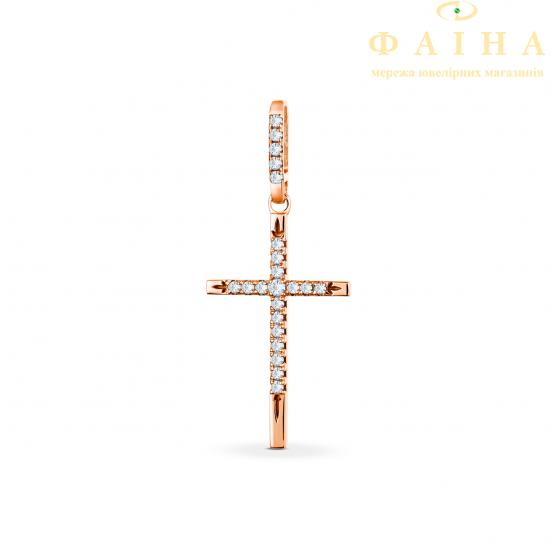 Золотой крест с бриллиантом (П313) - 1
