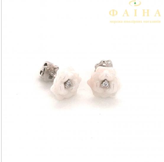 Серебряные серьги-пуссеты (2629б095) - 1