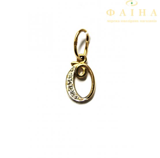 Золотой кулон-буква с фианитом (31034601) - 1
