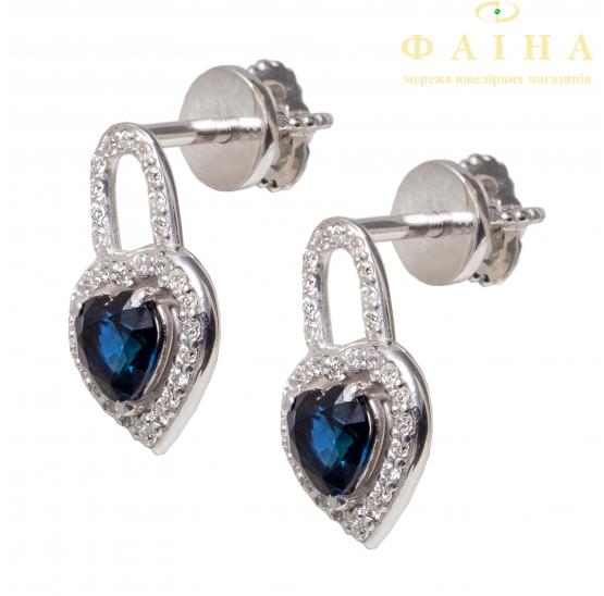 Золотые серьги-пуссеты с бриллиантом и сапфиром (с730071сб) - 1