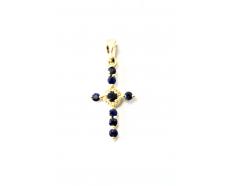 Золотой крест с бриллиантом и сапфиром (3101399202)