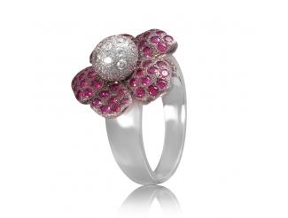 Золотое кольцо с бриллиантом и рубином (цветок)