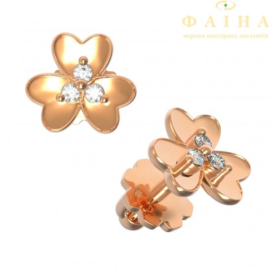 Золотые серьги-пуссеты с бриллиантом (22892) - 1