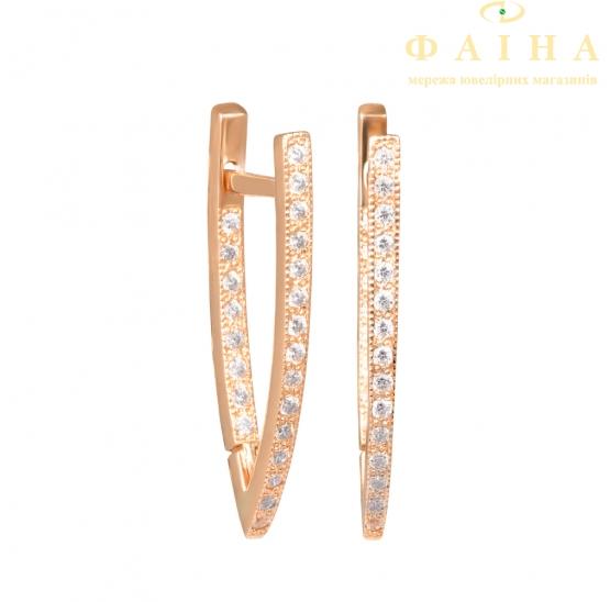 Золотые серьги с фианитом (2049046) - 1