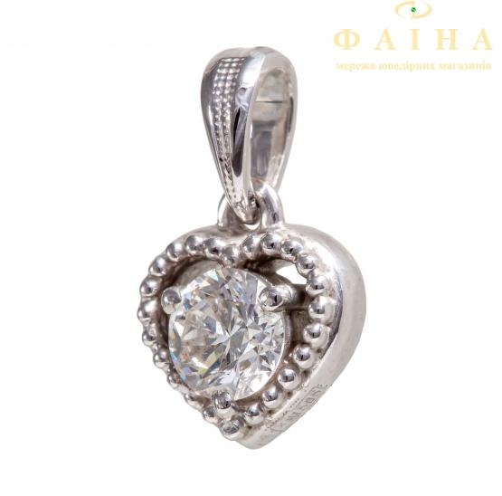 Золотой кулон с бриллиантом (33447б) - 1