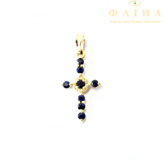 Золотой крест с бриллиантом и сапфиром (3101399202) - 1