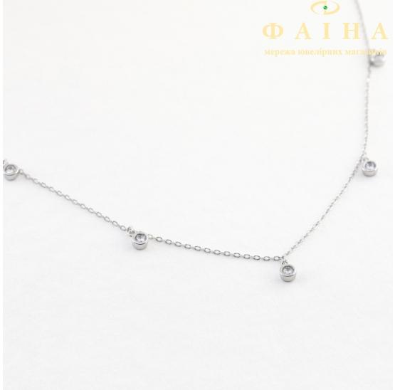 Серебряная цепь-колье с фианитом (КлК2Ф/112) - 1