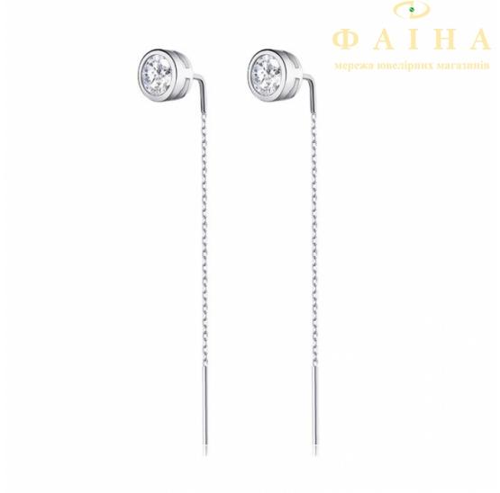 Серебряные серьги (с2ф/4025) - 1