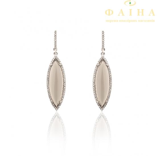 Серебрянные серьги с подвесками (17св12шамп) - 1