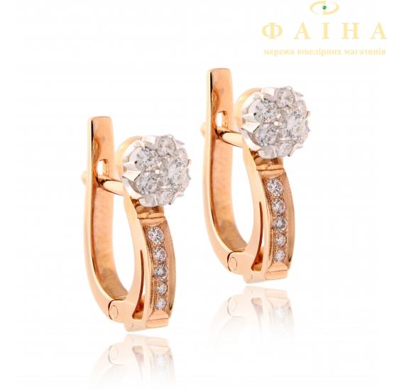 Золотые серьги с бриллиантом (малинка мн 2) - 1