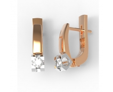 Золотые серьги с бриллиантом (22782)