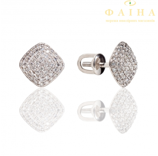 Золотые серьги-пуссеты с бриллиантом (2106401202) - 1