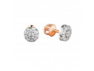 Золотые серьги-пуссеты с бриллиантом (п-галинка)