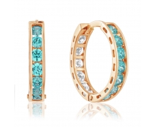 Золотые серьги-кольца с фианитом (4174SwMin)
