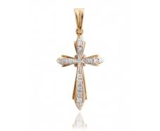 Золотой крест с фианитом (А6)